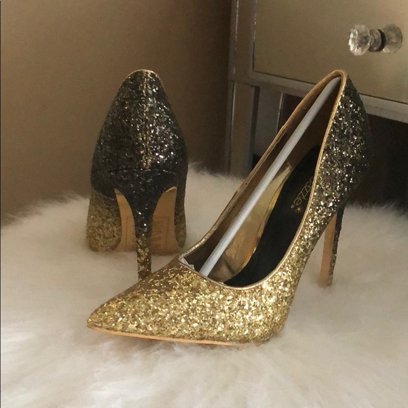 50c327cfb3 Shoe Dazzle Shoes | Beautiful Ombr Black And Gold Glitter Heels ...